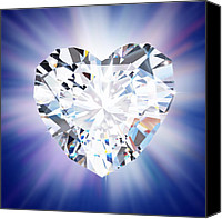 Romantic Jewelry Canvas Prints - Heart Diamond Canvas Print by Setsiri Silapasuwanchai