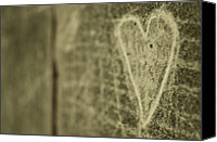 Creativity Canvas Prints - Heart Engraved On A Wall Canvas Print by Gil Guelfucci