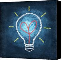 Training Canvas Prints - Heart In Light Bulb Canvas Print by Setsiri Silapasuwanchai