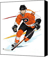 All Star Digital Art Canvas Prints - Heart of the Flyers - Claude Giroux Canvas Print by David E Wilkinson