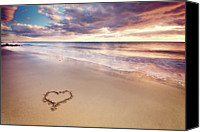 Color Photo Canvas Prints - Heart On The Beach Canvas Print by Elusive Photography
