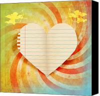 Invitation Canvas Prints - Heart Paper Retro Design Canvas Print by Setsiri Silapasuwanchai