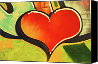 No People Digital Art Canvas Prints - Heart Shape Graffiti, Close-up Canvas Print by John Foxx