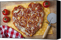 Tomatoes Tapestries Textiles Canvas Prints - Heart Shaped Pizza Canvas Print by Garry Gay