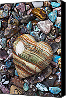 Hearts Photo Canvas Prints - Heart Stone Canvas Print by Garry Gay