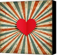 Shape Canvas Prints - Heart With Ray Background Canvas Print by Setsiri Silapasuwanchai
