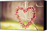 Gulf Coast States Canvas Prints - Heart Wreath Hanging On Tree Canvas Print by Julia Goss