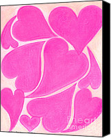 Hot Pink Pastels Canvas Prints - Heart143 Artwithheart.com Canvas Print by Patricia Marie Amber Sorenson