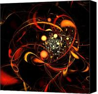 Black Framed Prints Digital Art Canvas Prints - Heartbeat Canvas Print by Oni H