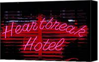 Heartache Canvas Prints - Heartbreak hotel neon Canvas Print by Garry Gay