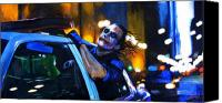Transportation Painting Canvas Prints - Heath Ledger as the Crazy Joker Canvas Print by Luke Morrison