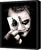 Dark Knight Canvas Prints - Heath Ledger as The Joker Canvas Print by Kalie Hoodhood