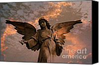 Angel Photographs Photo Canvas Prints - Heavenly Spiritual Angel Wings Sunset Sky  Canvas Print by Kathy Fornal