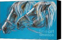 Horses Pastels Canvas Prints - Heavy Horses Canvas Print by Angel  Tarantella