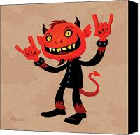 Cartoon Canvas Prints - Heavy Metal Devil Canvas Print by John Schwegel
