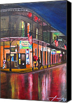 Impressionism Art Mixed Media Canvas Prints - Heavy Rain On Bourbon St - New Orleans Canvas Print by Dan Haraga