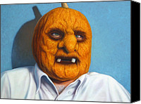 Halloween Painting Canvas Prints - Heavy Vegetable-head Canvas Print by James W Johnson
