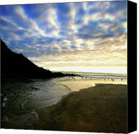 Blue Greeting Cards Canvas Prints - Heceta Head at Dusk Canvas Print by Bonnie Bruno