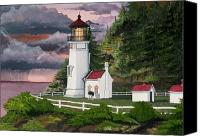 Storm Prints Mixed Media Canvas Prints - Heceta Head Lighthouse Canvas Print by James Lyman