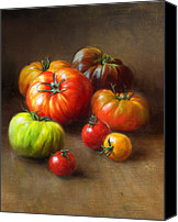 Tomatoes Tapestries Textiles Canvas Prints - Heirloom Tomatoes Canvas Print by Robert Papp