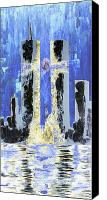Cities Mixed Media Canvas Prints - Held Before 9-11 Blue Canvas Print by Renee Nolan-Riley