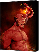 Paranormal  Digital Art Canvas Prints - Hellboy Canvas Print by Jason Longstreet