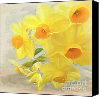 Daffodil Flowers Digital Art Canvas Prints - Hello February Canvas Print by Cindy Garber Iverson