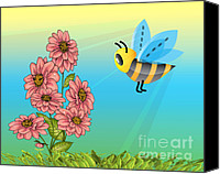 Bumblebees Canvas Prints - Hellooooo Girls Canvas Print by Cheryl Young