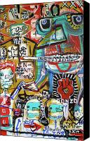 Neo Expressionism Canvas Prints - Help Make A Balance Canvas Print by Robert Wolverton Jr