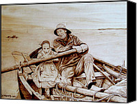 Boat Pyrography Canvas Prints - Helping Hands Canvas Print by Jo Schwartz