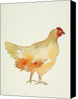 Simple Painting Canvas Prints - Hen Canvas Print by Carolyn Doe