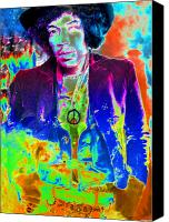Rock And Roll Canvas Prints - Hendrix Canvas Print by David Lee Thompson