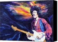 Rock Music Canvas Prints - Hendrix Canvas Print by Ken Meyer jr