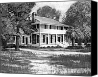 Louisiana Drawings Canvas Prints - Henning House Sketch Canvas Print by Kevin Lawrence Leveque