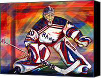 Hockey Goalie Canvas Prints - Henrik Lundqvist2 Canvas Print by Steve Benton