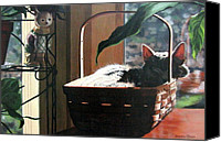Tabby  Painting Canvas Prints - Her Basket Canvas Print by Sandra Chase