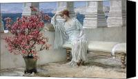 Alma-tadema; Sir Lawrence (1836-1912) Canvas Prints - Her eyes are with her thoughts and they are far away Canvas Print by Sir Lawrence Alma-Tadema