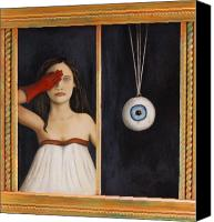 Glove Painting Canvas Prints - Her Wandering Eye Canvas Print by Leah Saulnier The Painting Maniac
