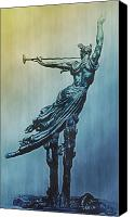 Herald Canvas Prints - Heraldic Memorial Statue at Gettysburg Canvas Print by Bill Cannon