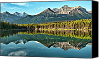 Mountains Canvas Prints - Herbert Lake - Quiet Morning Canvas Print by Jeff R Clow