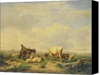 Donkey Painting Canvas Prints - Herdsman and Herd Canvas Print by Eugene Joseph Verboeckhoven