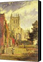 Architecture Painting Canvas Prints - Hereford Cathedral Canvas Print by John William Buxton Knight