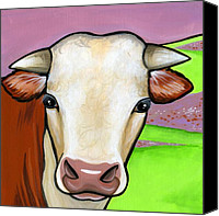 Cow Canvas Prints - Hereford Canvas Print by Leanne Wilkes