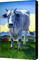 Cow Barn Canvas Prints - Heres Looking at You Canvas Print by Stacey Neumiller