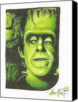 Bats Drawings Canvas Prints - Herman Munster Canvas Print by Andrew Kirchner