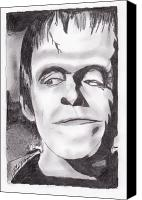 Monster Drawings Canvas Prints - Herman Munster Canvas Print by Jason Kasper