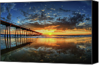 Column Canvas Prints - Hermosa Beach Canvas Print by Neil Kremer