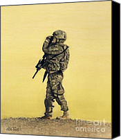 Army Pastels Canvas Prints - Heroes of the 82nd Airborne Canvas Print by Lisa Bell