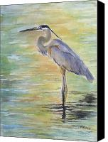 Lake Canvas Prints - Heron at the Lagoon Canvas Print by Patricia Pushaw