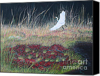 Grasses Canvas Prints - Heron Over Autumn Marsh Canvas Print by Cindy Lee Longhini